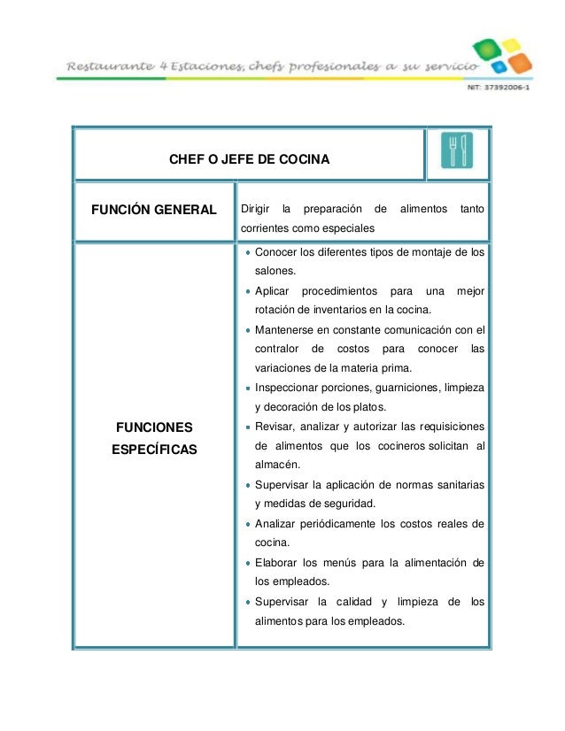 4 estaciones restaurante for Manual de procedimientos de cocina en un restaurante