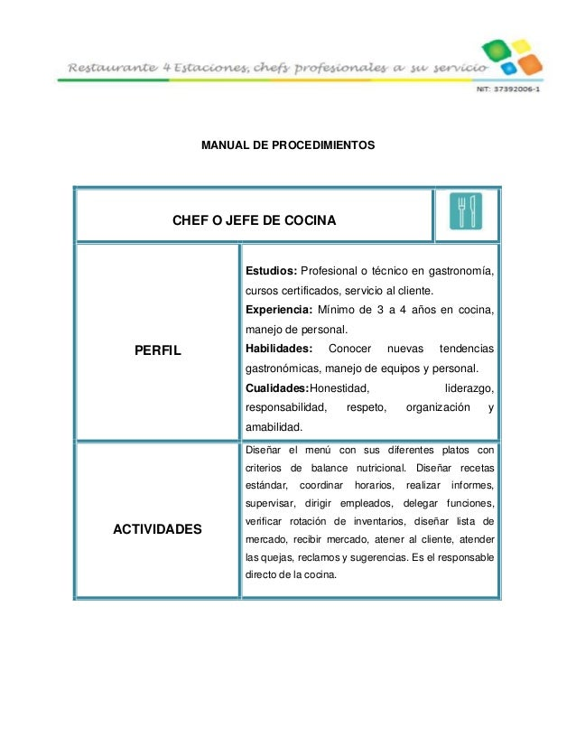 4 estaciones restaurante for Manual de procedimientos de cocina