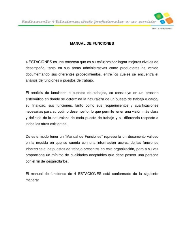 4 estaciones restaurante trabajo final for Manual de funciones y procedimientos de un restaurante
