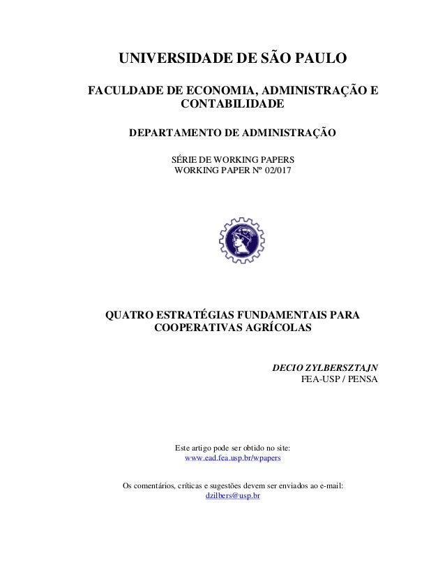 UNIVERSIDADE DE SÃO PAULOFACULDADE DE ECONOMIA, ADMINISTRAÇÃO E            CONTABILIDADE     DEPARTAMENTO DE ADMINISTRAÇÃO...