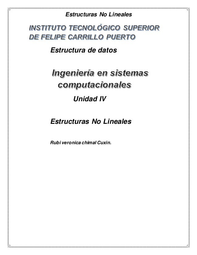 Estructuras No Lineales  Estructura de datos  Unidad IV  Estructuras No Lineales  Rubi veronica chimal Cuxin.