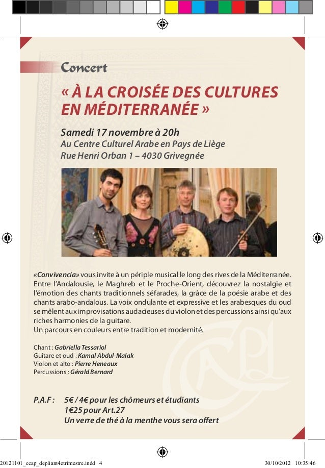 Concert                       « À la croisée des cultures                       en Méditerranée »                       Sa...