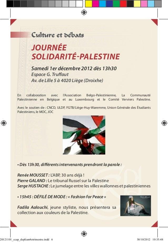 Culture et débats                       JOURNÉE                       SOLIDARITÉ-PALESTINE                       Samedi 1e...