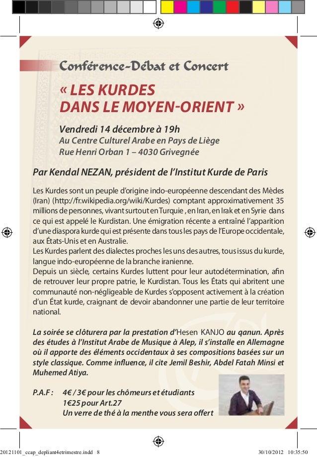 Conférence-Débat et Concert                       « Les Kurdes                       dans le Moyen-Orient »               ...