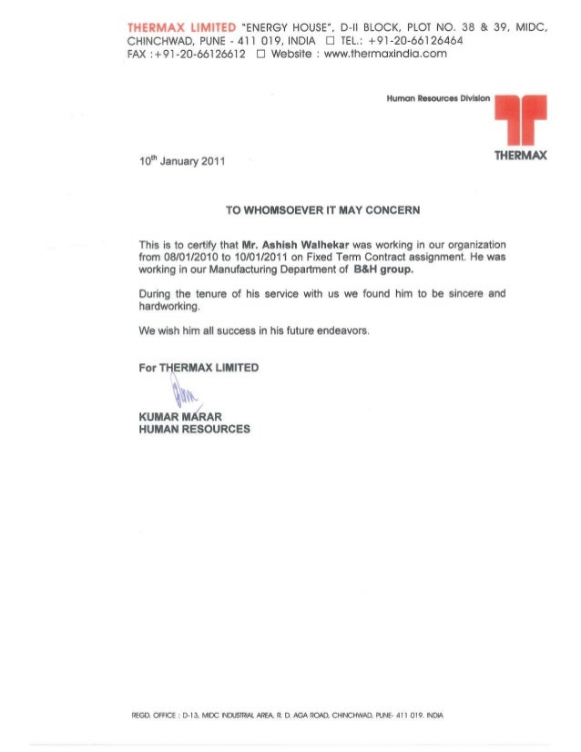 Letter Of Thermax