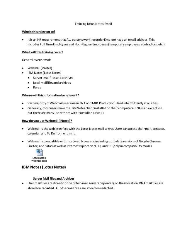 Training Lotus Notes Email