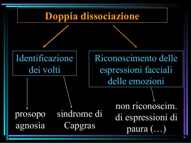 Doppia dissociazione Identificazione dei volti Riconoscimento delle espressioni facciali delle emozioni prosopo agnosia si...