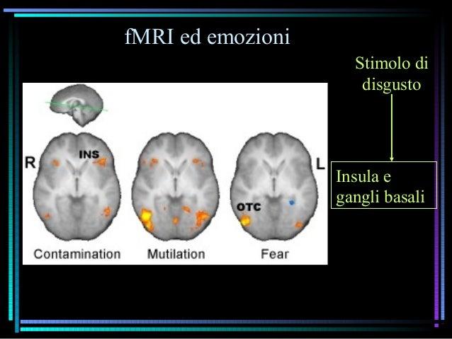 fMRI ed emozioni Insula e gangli basali Stimolo di disgusto