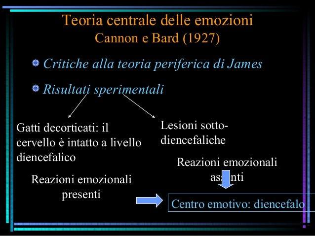Teoria centrale delle emozioni Cannon e Bard (1927) Critiche alla teoria periferica di James Risultati sperimentali Gatti ...