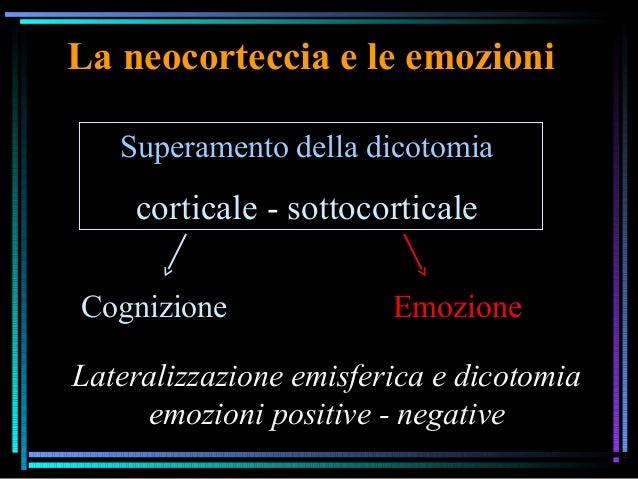 La neocorteccia e le emozioni Superamento della dicotomia corticale - sottocorticale Cognizione Emozione Lateralizzazione ...