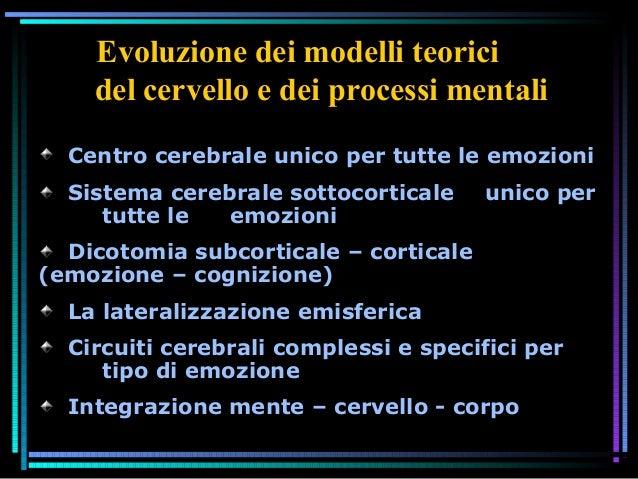 Centro cerebrale unico per tutte le emozioni Sistema cerebrale sottocorticale unico per tutte le emozioni Dicotomia subcor...