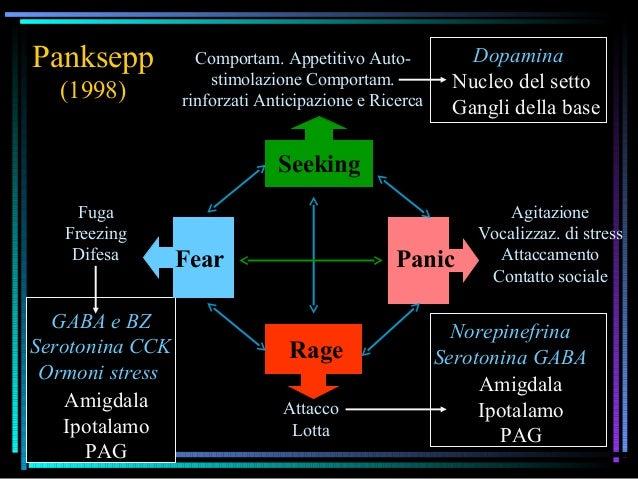 Panksepp (1998) PanicFear Rage Comportam. Appetitivo Auto- stimolazione Comportam. rinforzati Anticipazione e Ricerca Fuga...
