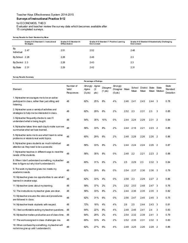 Teacher Keys Effectiveness System 2014-2015 Surveys of Instructional Practice 9-12 for ECONOMOS, THEO Evaluator and teache...
