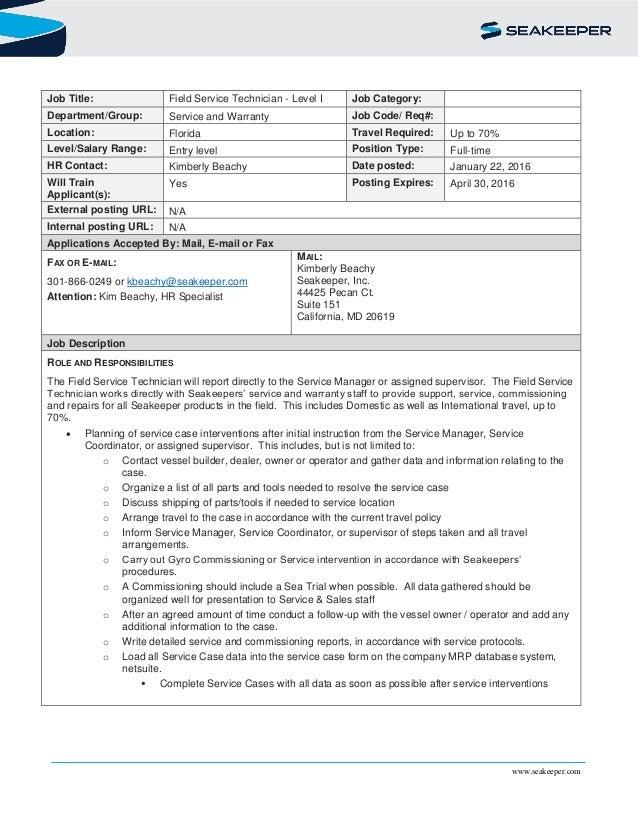 Service Technician Job Description - Gse.Bookbinder.Co