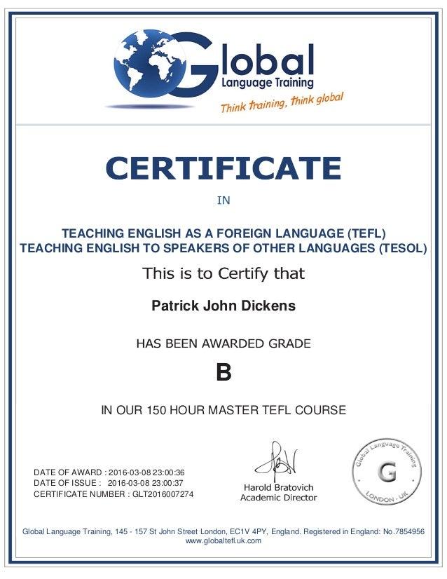 Patrick Dickens TEFL Master Certificate - Global language course