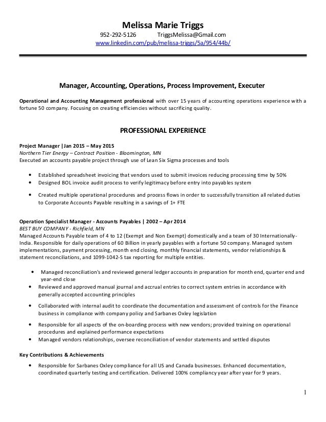 MelissaTriggsResume_Accounting Manager AP updated