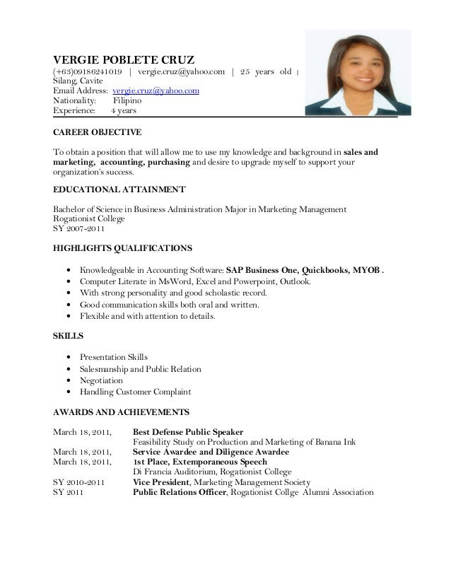 Good Updated Resume 1. VERGIE POBLETE CRUZ (+63)09186241019 |  Vergie.cruz@yahoo.com ... Intended For Updated Resume