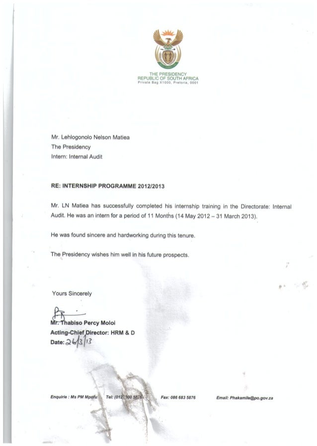 proof of internship letter sample