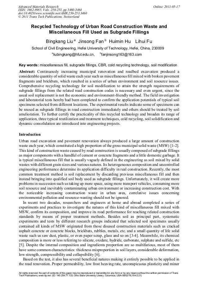 Recycled Technology of Urban Road Construction Waste and Miscellaneous Fill Used as Subgrade Fillings Bingkang Liu a Jinso...