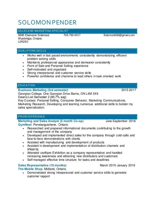 Solomon Pender Blue Resume