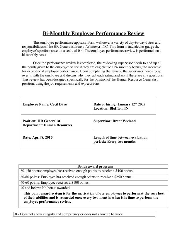 Bi Monthly Employee Performance Review This Employee Performance Appraisal  Form Will Cover A Variety Of ...  Monthly Appraisal Form