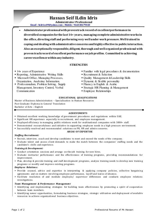 Page 1 of 2 Professional Resume of Mr.Hassan Hassan Seif ILdin Idris Administrator Professional Email : hidriss89@yahoo.co...