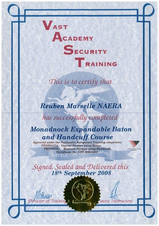 Vast Monadnock Expandable Baton And Handcuff Course