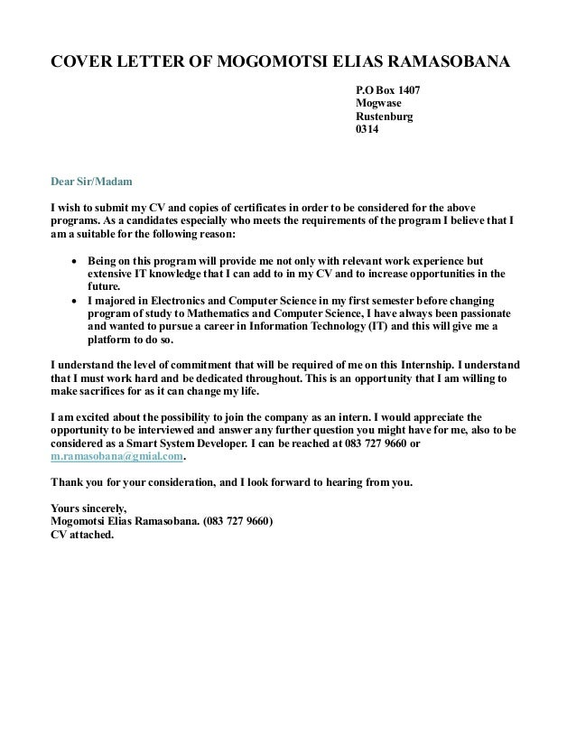 Cover Letter Dear Sir Madam Yours Faithfully