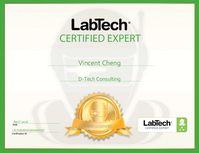 Labtech Ltce Certified Expert Vincent Cheng