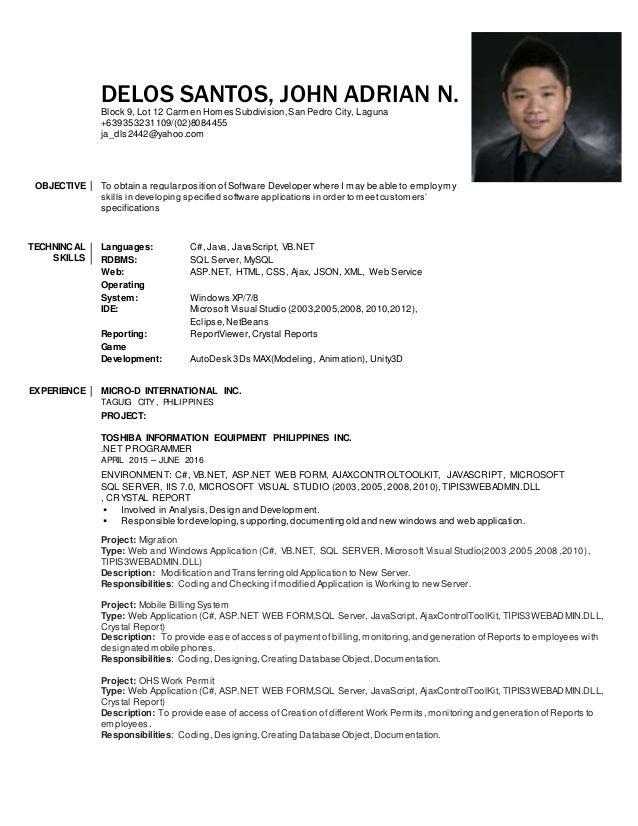 DELOS SANTOS, JOHN ADRIAN N. Block 9, Lot 12 Carmen Homes Subdivision,San Pedro City, Laguna +639353231109/(02)8084455 ja_...