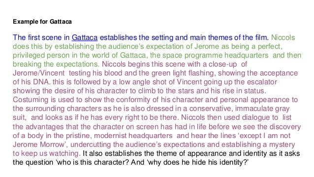 gattaca techniques essay Essay on the movie gattaca by pamela stanley by gary in the world of gattaca all those film techniques used really supports the statement of in gattaca essay.