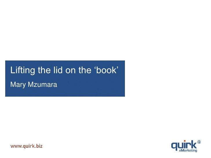 Lifting the lid on the 'book'<br />Mary Mzumara <br />