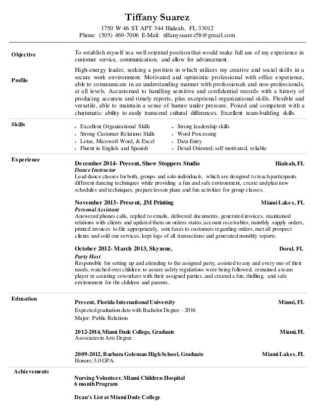 tiffany suarez resume