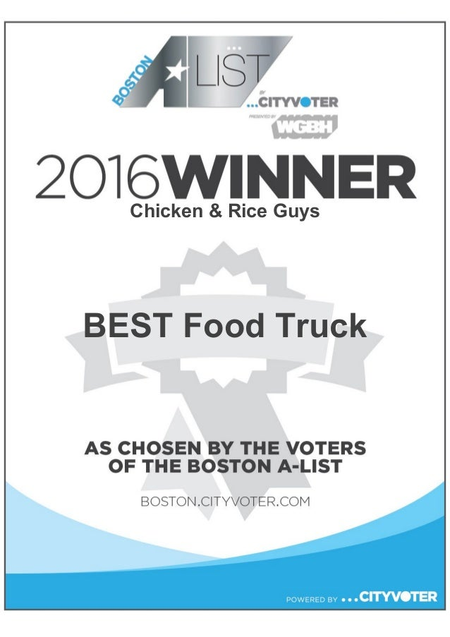 Chicken And Rice Guys Winners Certificate 2016