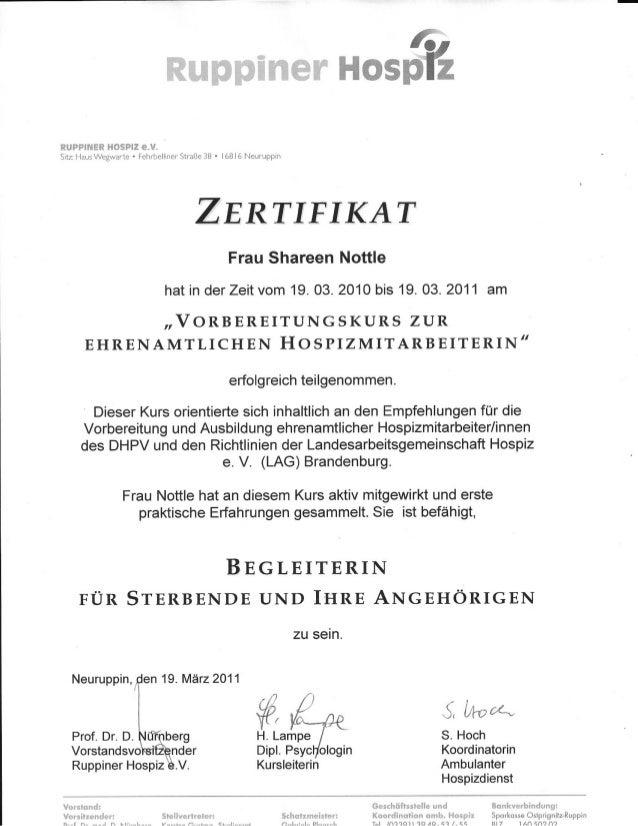 Zertifikat Hospizmitarbeiterin