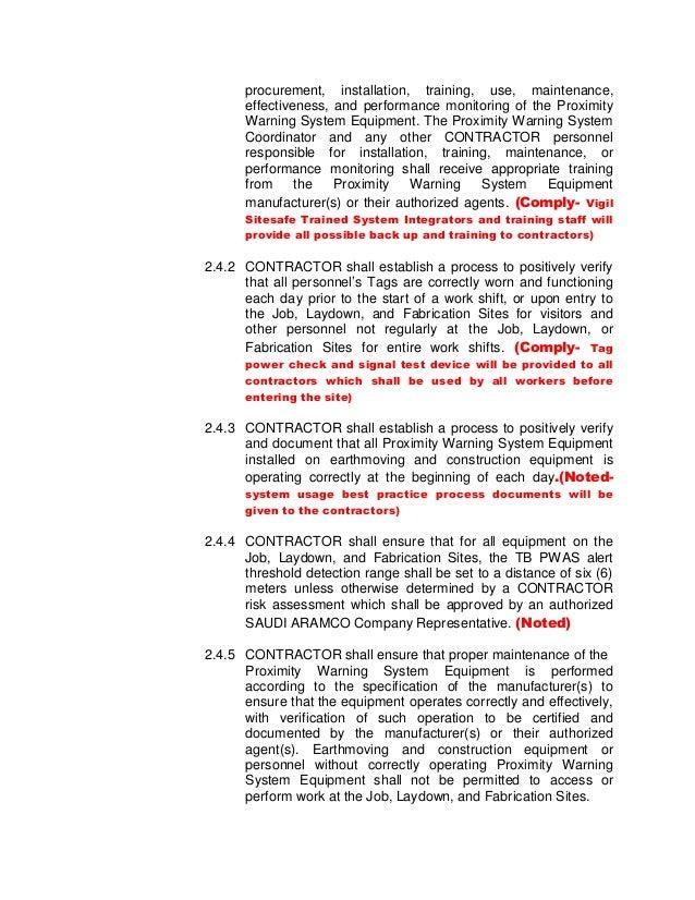 Vigil Sitesafe Aramco Sch B system Compliance Document