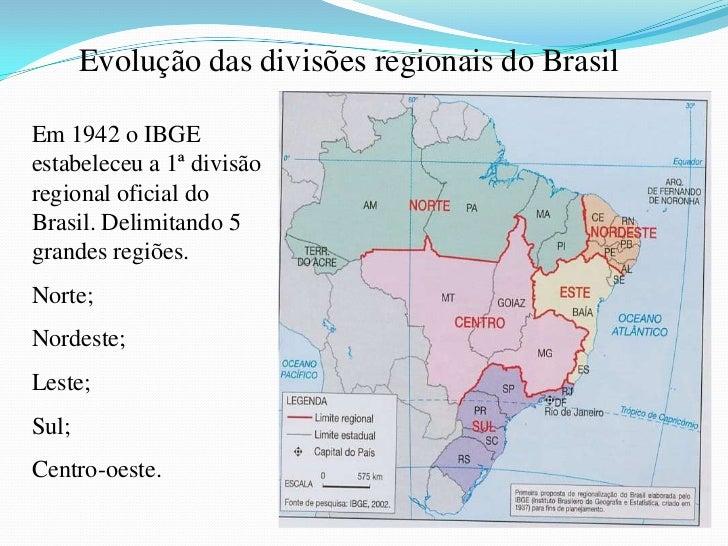 Em 1945 embora tenhaconservado as mesmasregiões, uma nova divisãoacrescentou um sistemahierárquico como:Grandes regiões;Re...