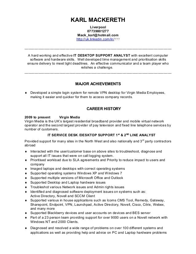 IT Support Analyst CV template 1 final