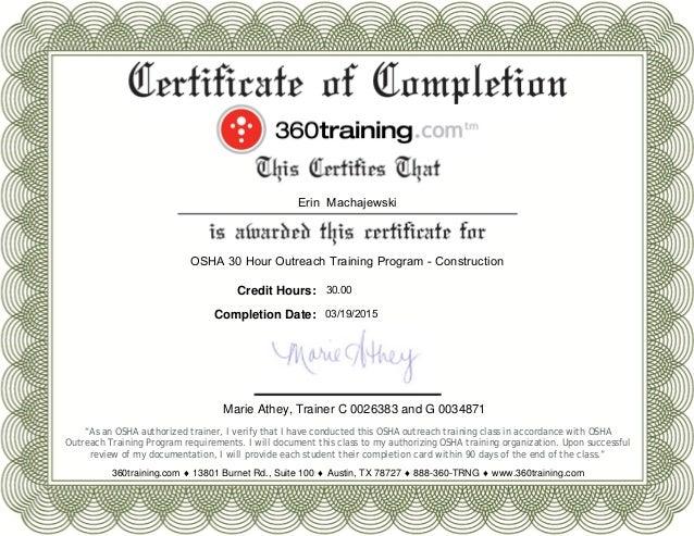 Osha 30 Hr Certificate