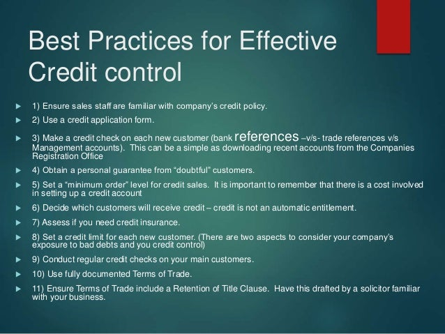 Best Practices for Effective Credit control