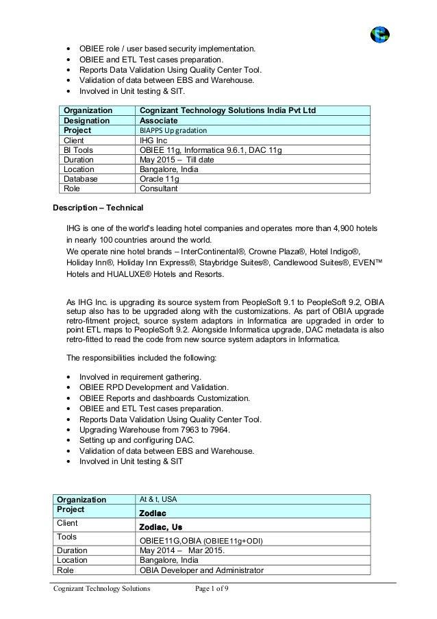obiee 11g resume resume sle java developer profile free