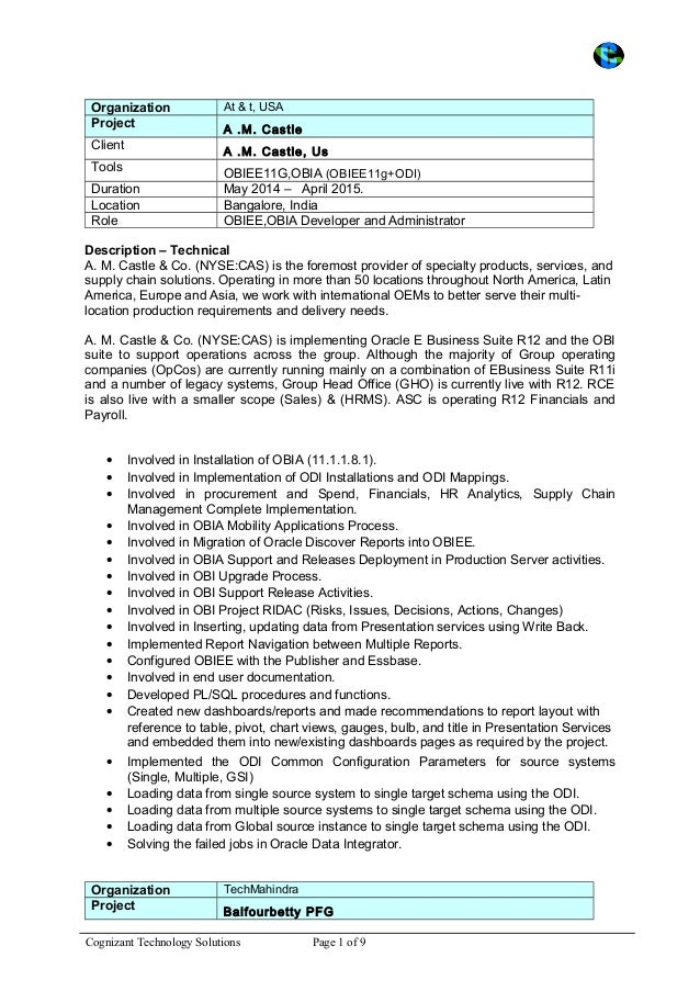 Odi Administrator Resume