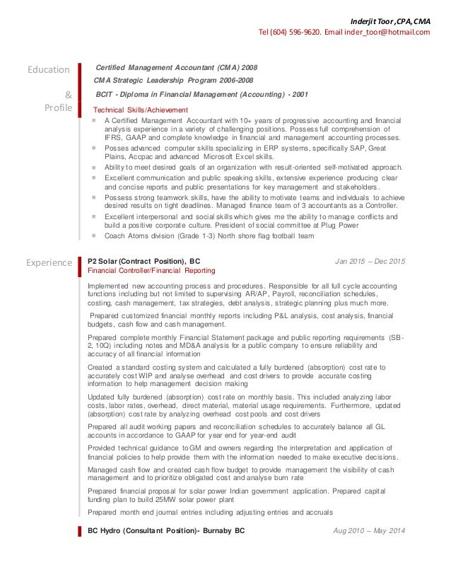 certified management accountant resume contents layouts