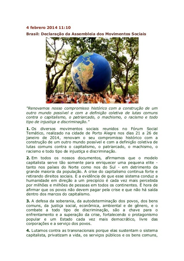 """4 febrero 2014 11:10 Brasil: Declaração da Assembleia dos Movimentos Sociais  """"Renovamos nosso compromisso histórico com a..."""