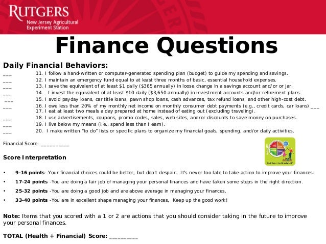 personal health  u0026 finance quiz presentation