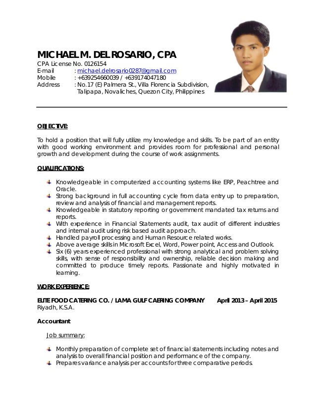MICHAEL M. DEL ROSARIO, CPA CPA License No.  Cpa Resume