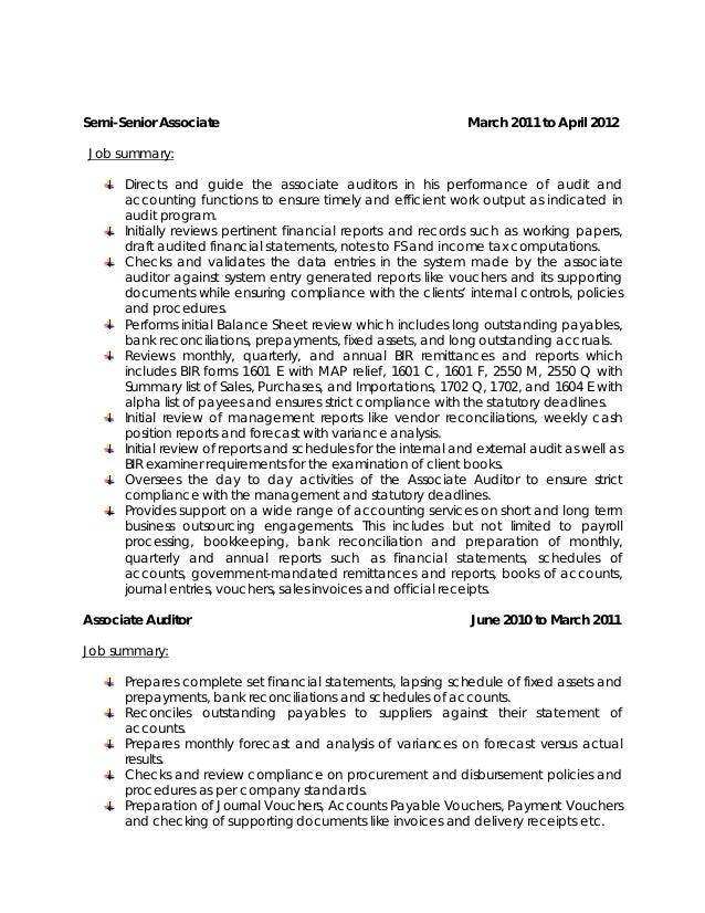 Sample Resume For Auditor