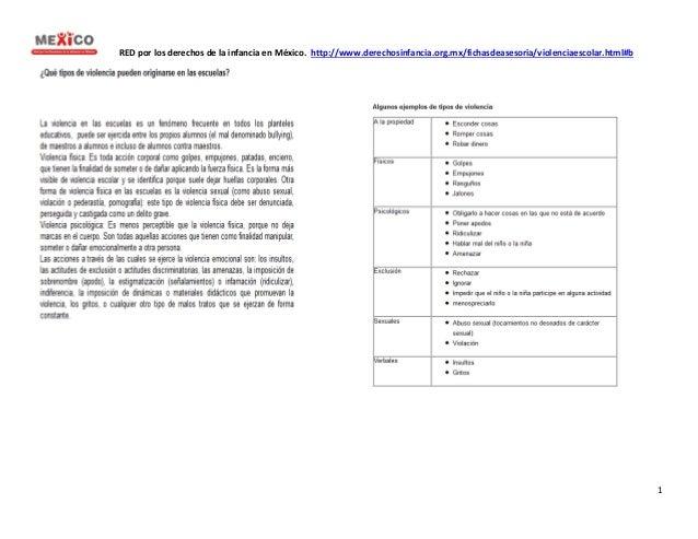 RED por los derechos de la infancia en México. http://www.derechosinfancia.org.mx/fichasdeasesoria/violenciaescolar.html#b...