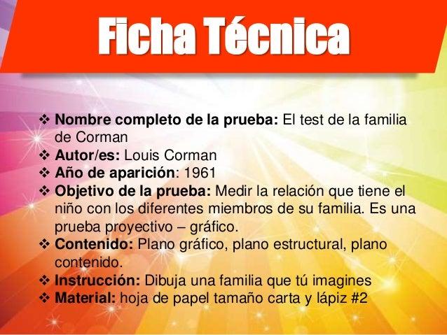Ficha del Test de la familia de corman