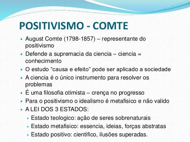 POSITIVISMO - COMTE  August Comte (1798-1857) – representante do positivismo  Defende a supremacia da ciencia – ciencia ...